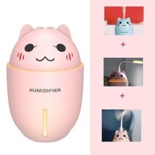 Увлажнитель воздуха USB «Котэ» с led фонариком и вентилятором розовый купить Минск +375447651009