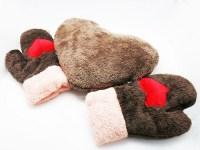 Варежки для влюбленных «Сердца» меховые коричневые купить Минск +375447651009