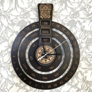 Вечный календарь настенный с часами «Кольца» цвет венге Минск +375447651009