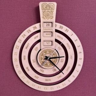 Вечный календарь настенный с часами «Кольца» розовый Минск +375447651009