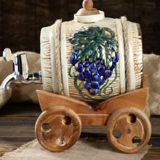 Винная бочка на тележке «Гроздь винограда» купить в Минске +375447651009
