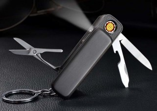 Зажигалка брелок с подзарядкой от USB 3 в 1 серебристая Минск +375447651009