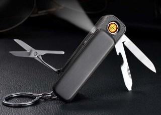 Зажигалка брелок с подзарядкой от USB 3 в 1 золотистая Минск +375447651009