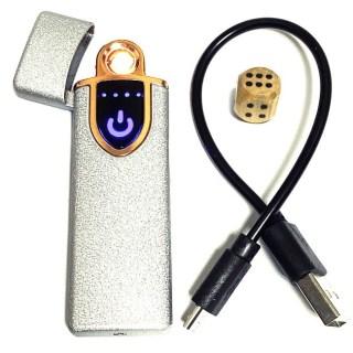 Зажигалка с зарядкой от USB «Стиль» серебристая Минск +375447651009