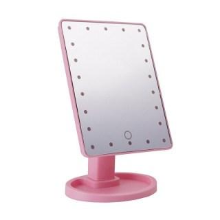 Зеркало с подсветкой для макияжа розовое купить