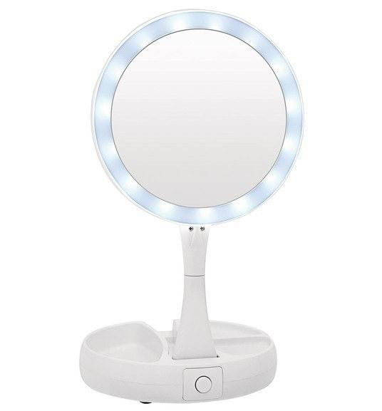 Складное зеркало с подсветкой для макияжа белое купить