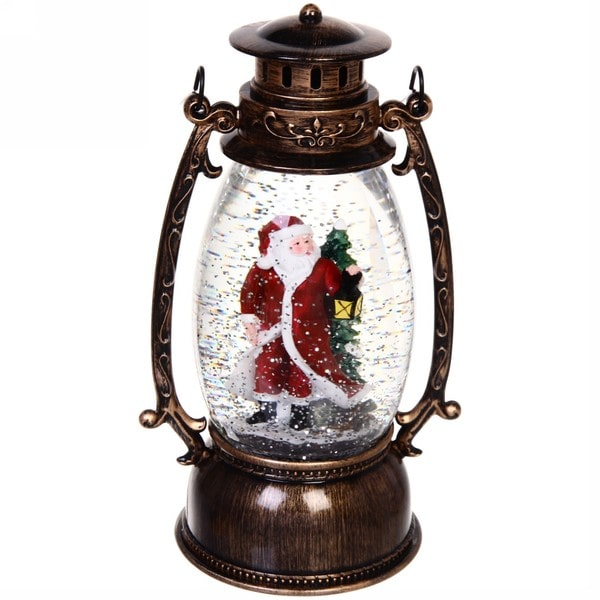 Светильник со снегом «Дед Мороз с фонариком» музыкальный купить в Минске +375447651009