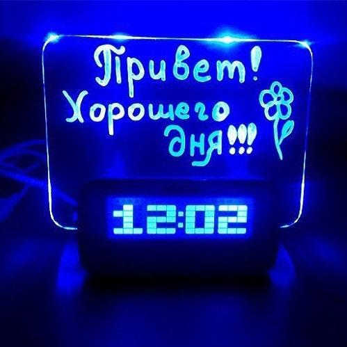 Светящийся Led будильник с доской для записи с USB и хабом синий Минск +375447651009