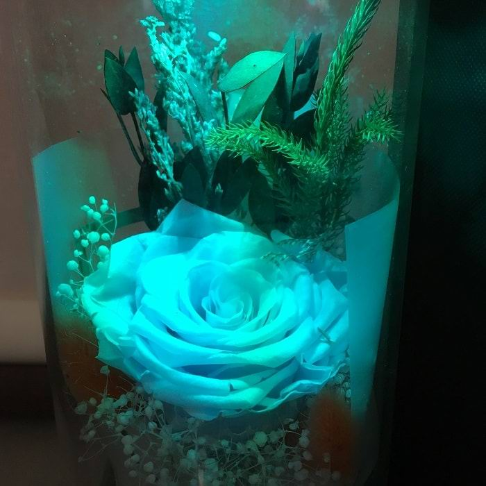 Голубая роза в стеклянной колбе с подсветкой купить