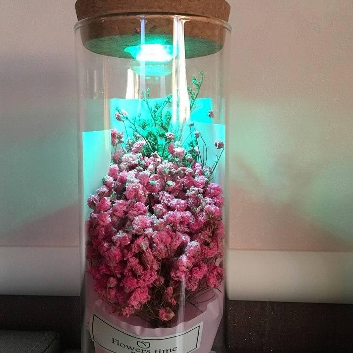 Цветы в стеклянной колбе с подсветкой «Гипсофила метельчатая» розовая купить