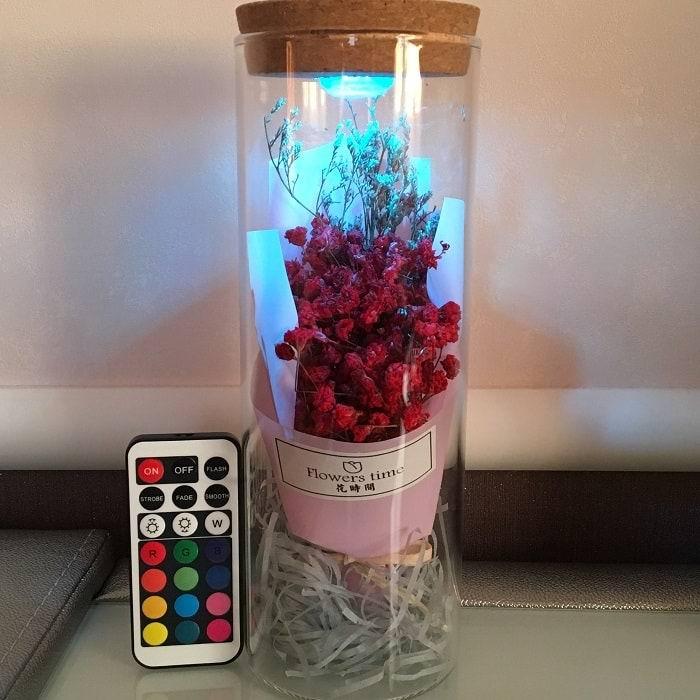 Цветы в стеклянной колбе с подсветкой «Гипсофила метельчатая» красная купить